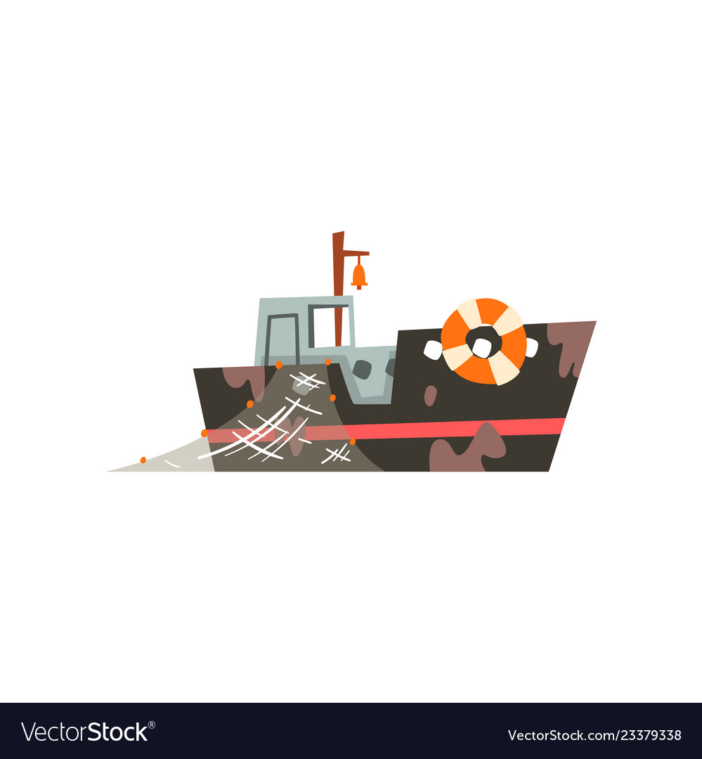 Fishing boat with net industrial trawler for