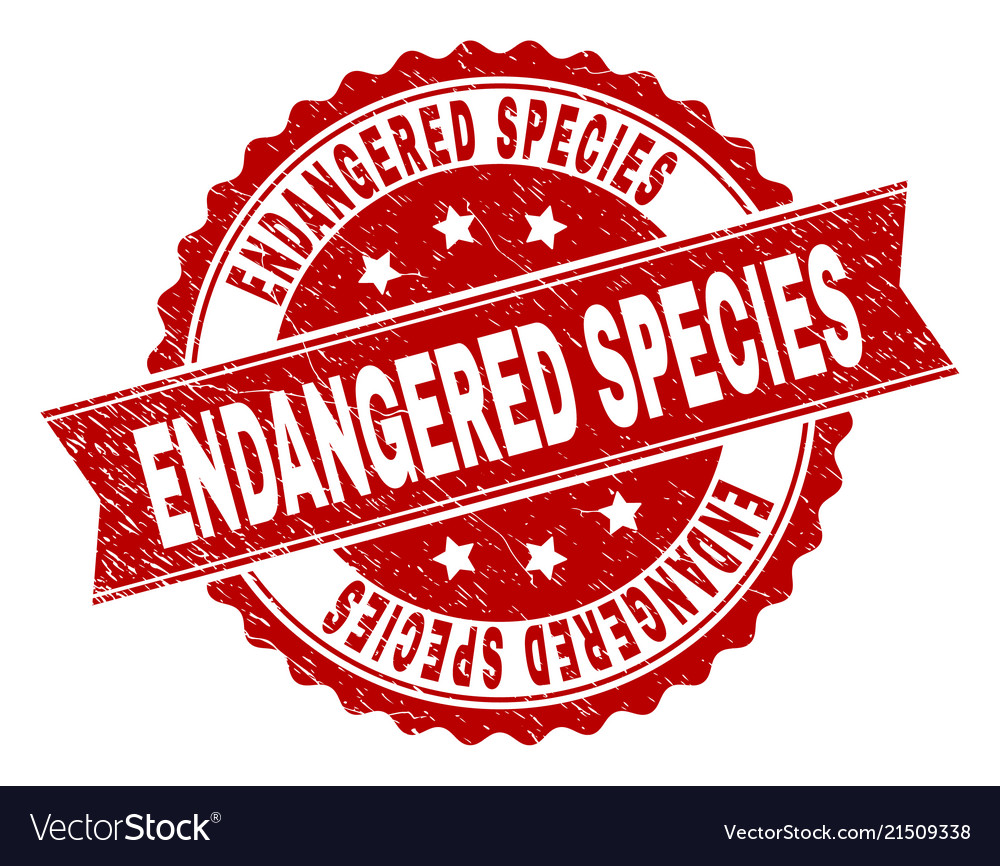Grunge Textured Endangered Species Stamp Seal Vector Image