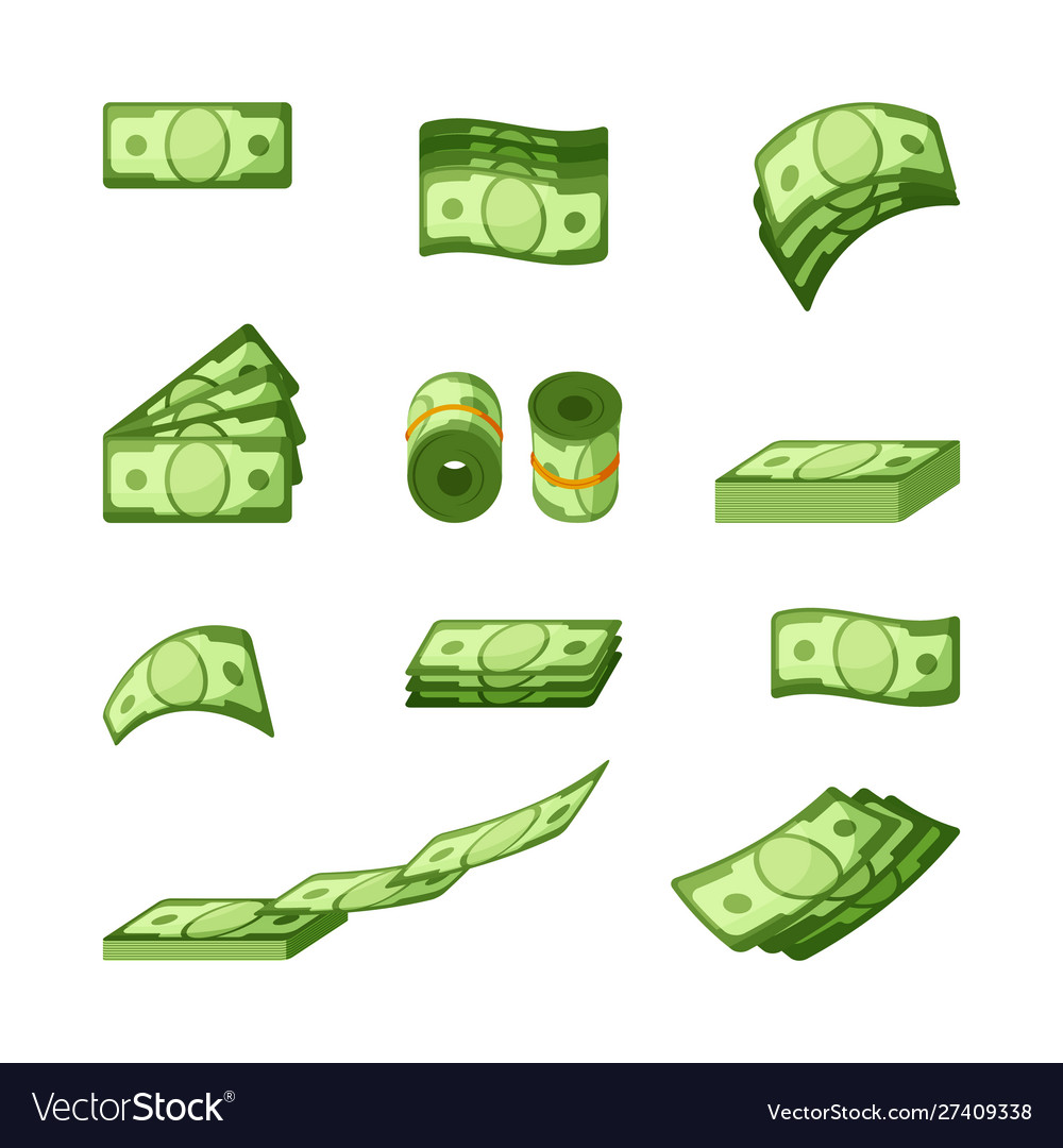 Money banknotes single and stacked icons