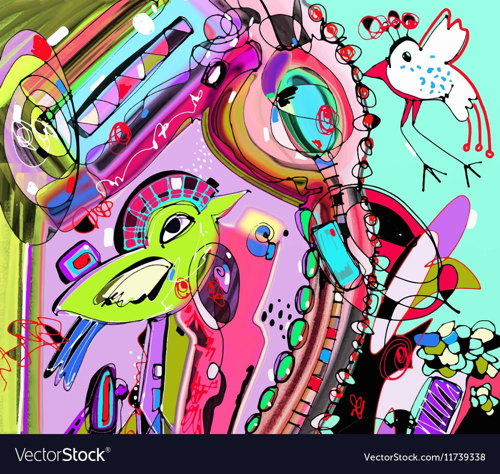 Original unique abstract digital contemporary