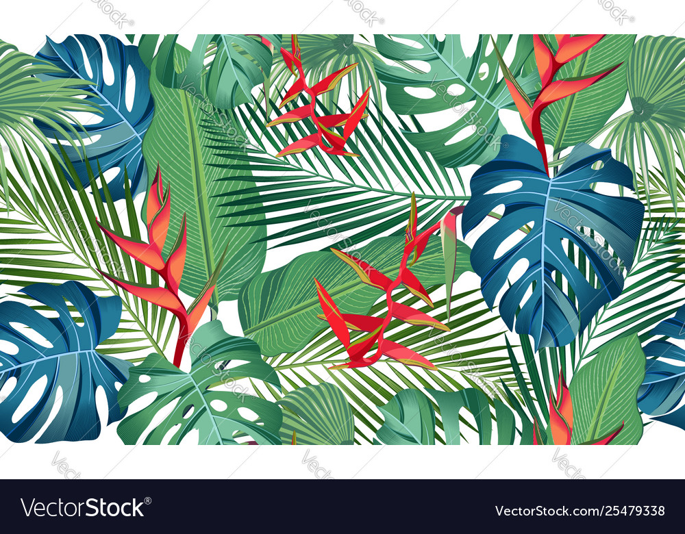 Seamless pattern tropical leaves with heliconia