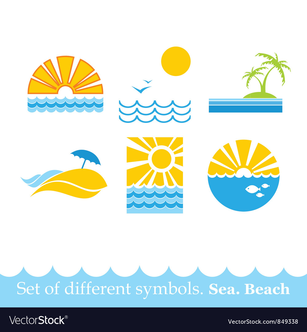 Set of signs sea beach image vector image