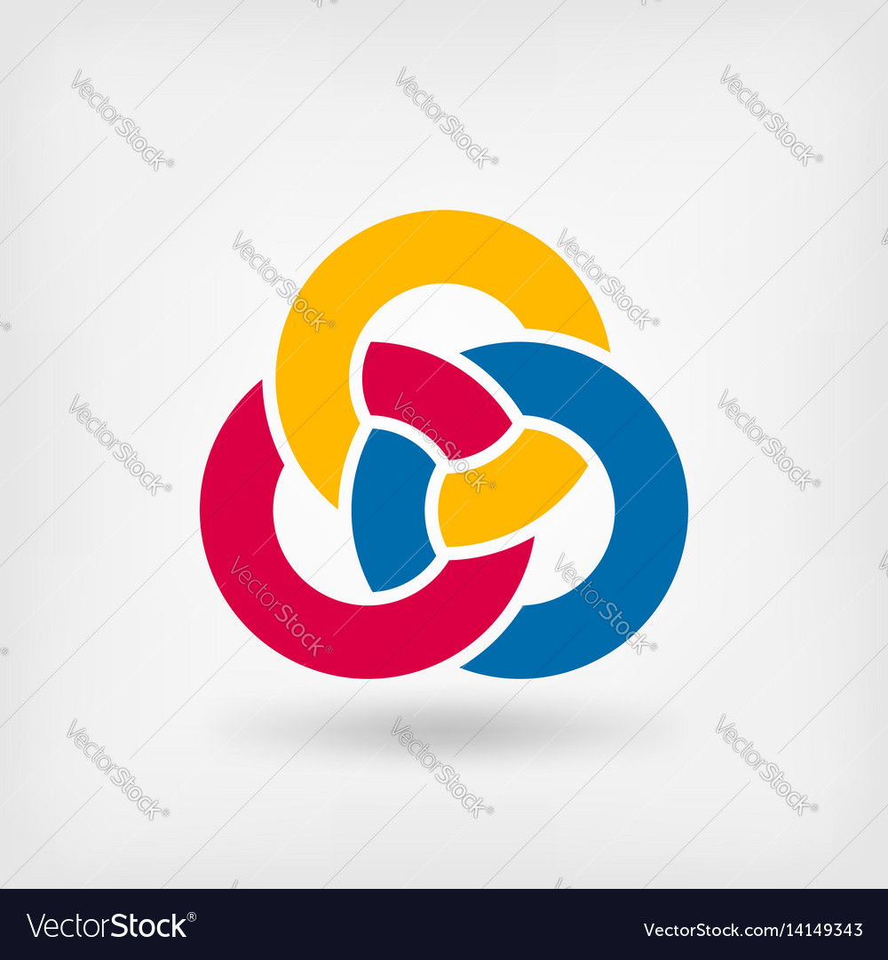 Abstract symbol three interlocking rings