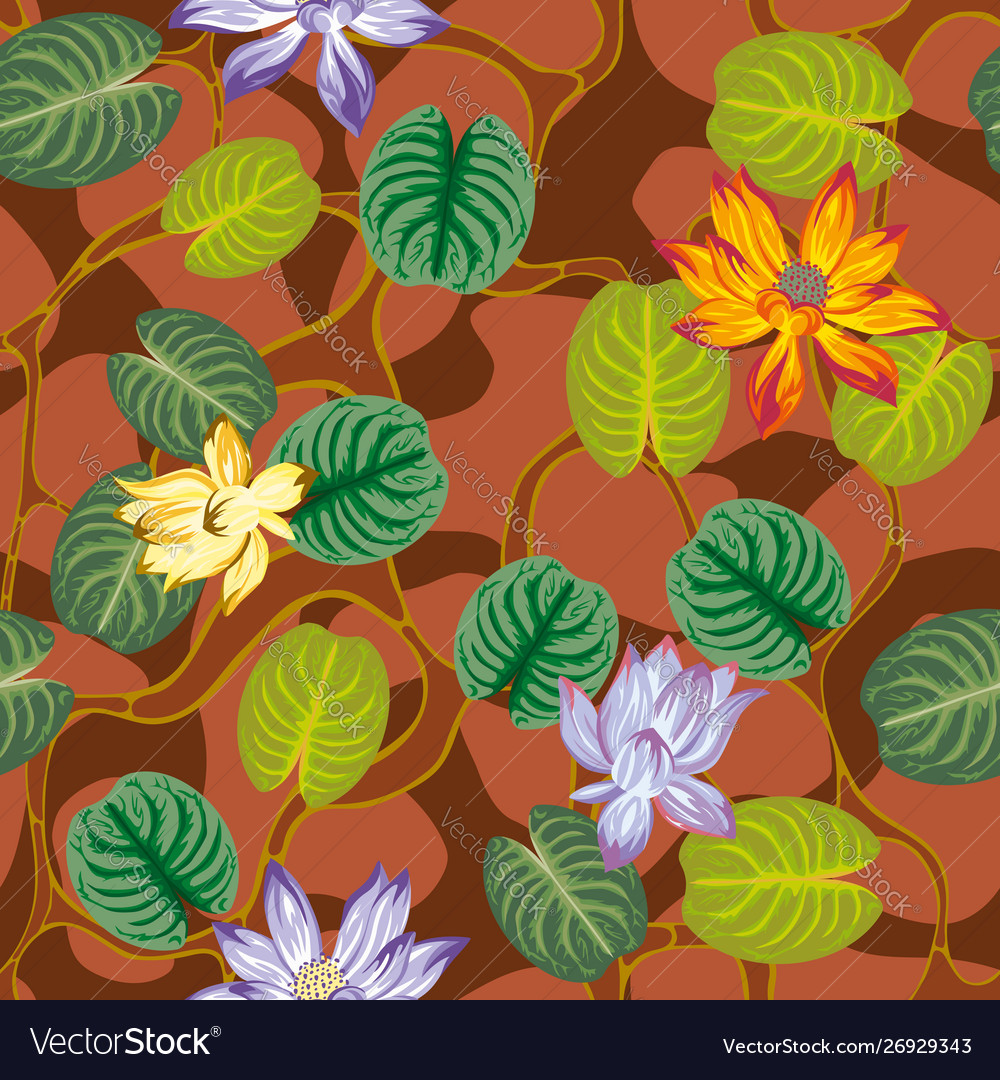 Autumn leaves lotus flowers seamless brown vector
