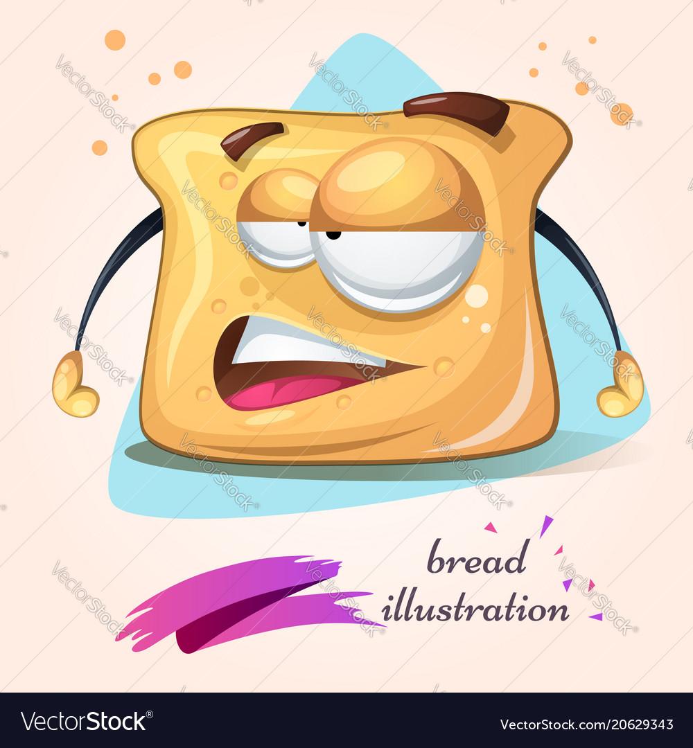 Cartoon funny cute crazy bread