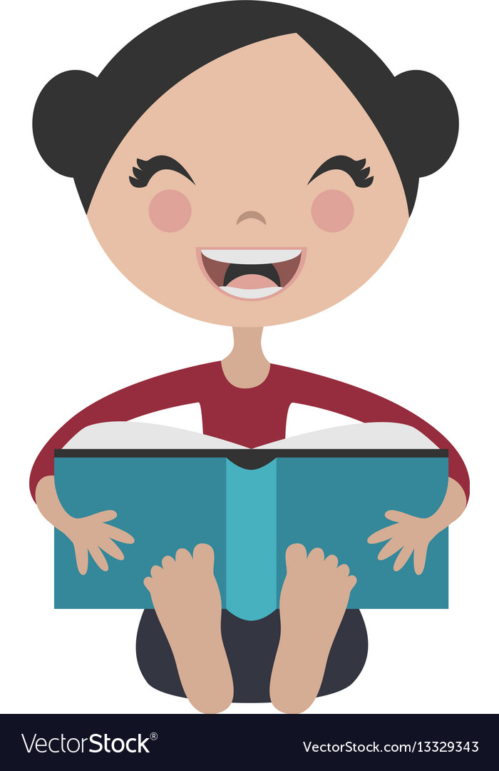 Cartoon girl reading fun book vector image