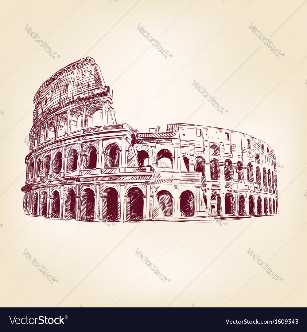 Coliseum - hand drawn vector image