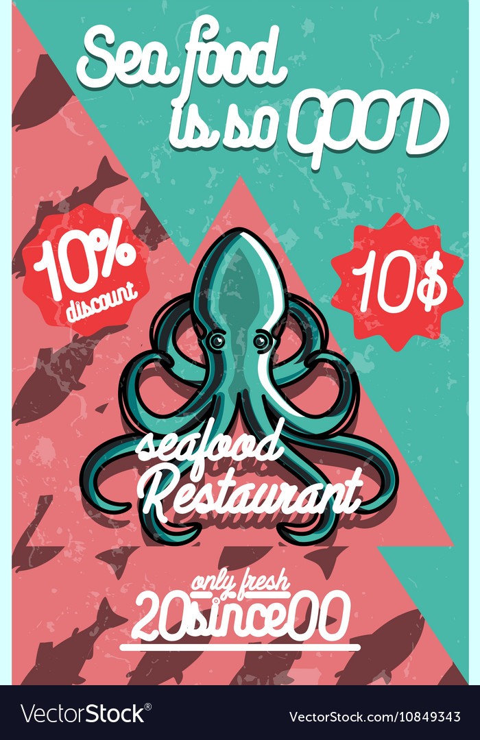 Color Vintage Seafood Restaurant Poster Royalty Free Vector