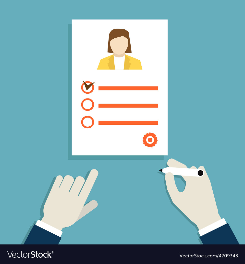Concept Of Job Interview With Business Resume Vector Image
