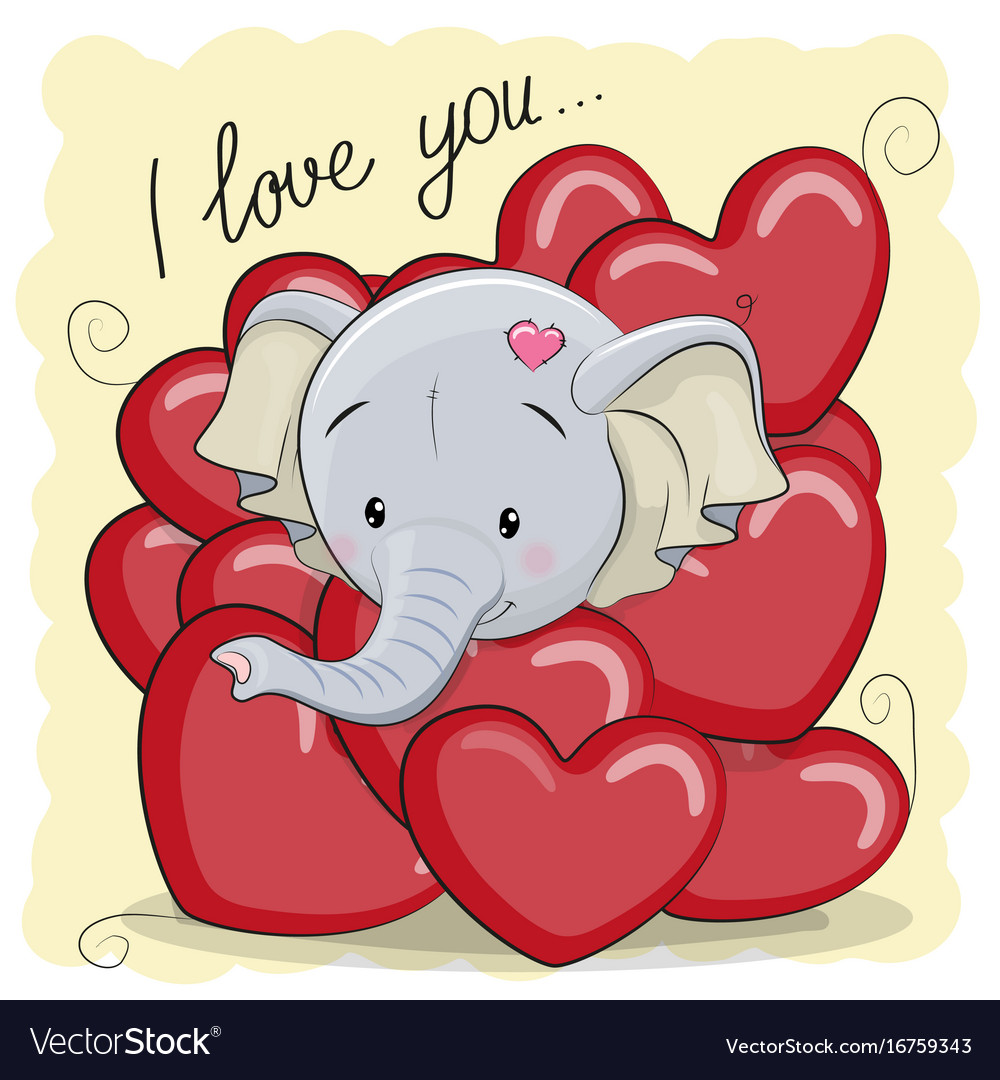 Cute cartoon elephant in hearts
