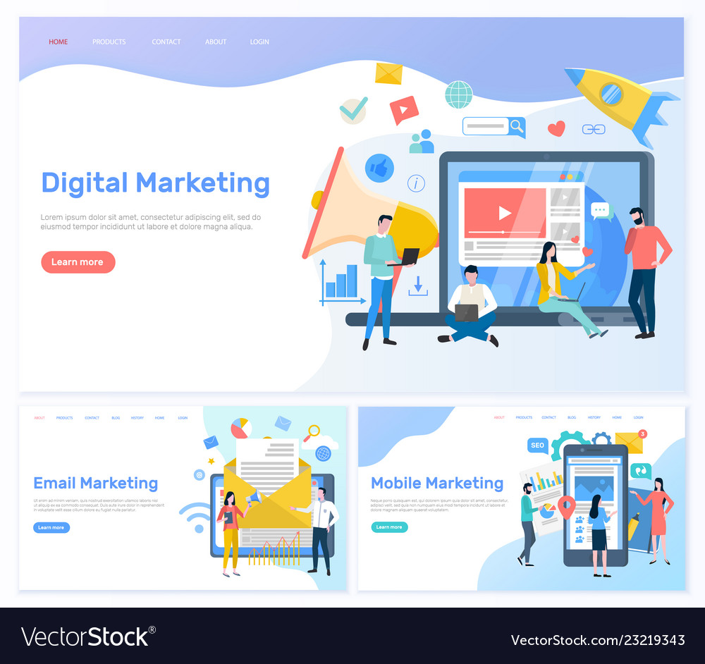 Digital and email mobile marketing working people