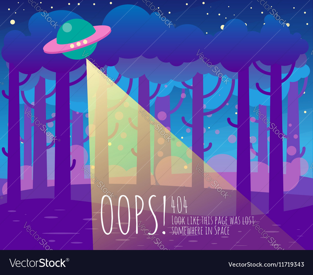 Error page flat template with ufo and Earth