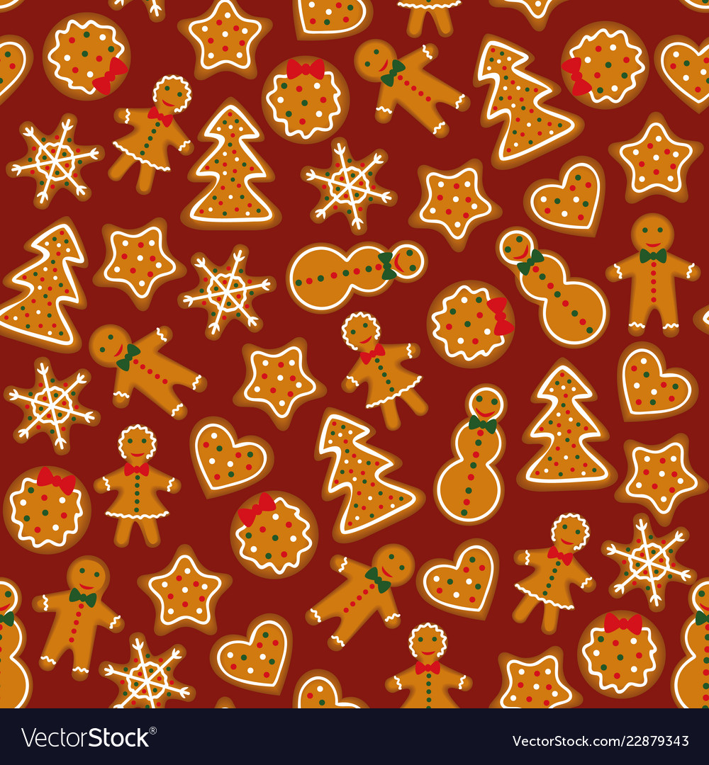 Gingerbreads on dark red background