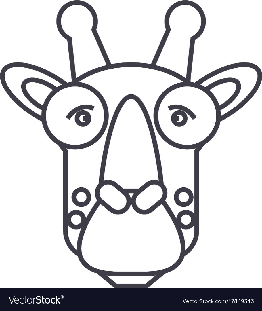 Giraffe head line icon sign vector image