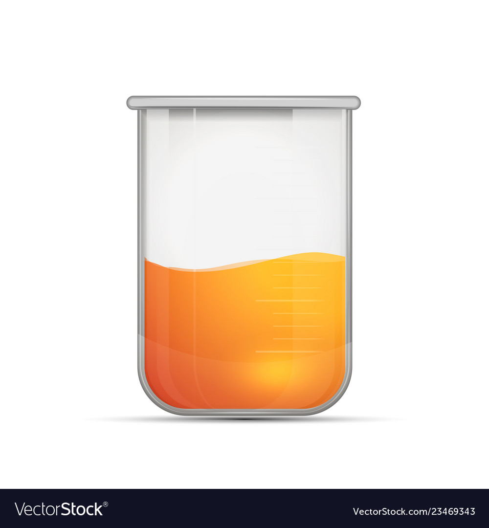 Glossy realistic chemical flask with bright orange