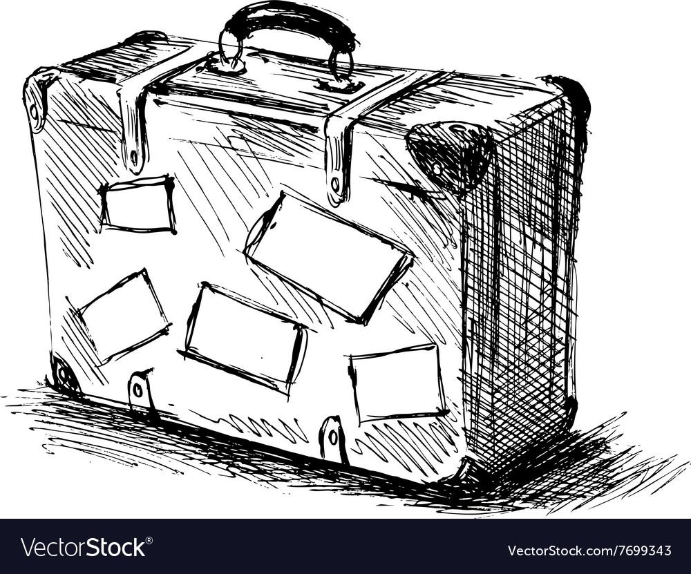 Hand sketch travel suitcase