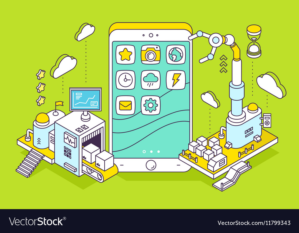Phone and three dimensional mechanism wit vector image