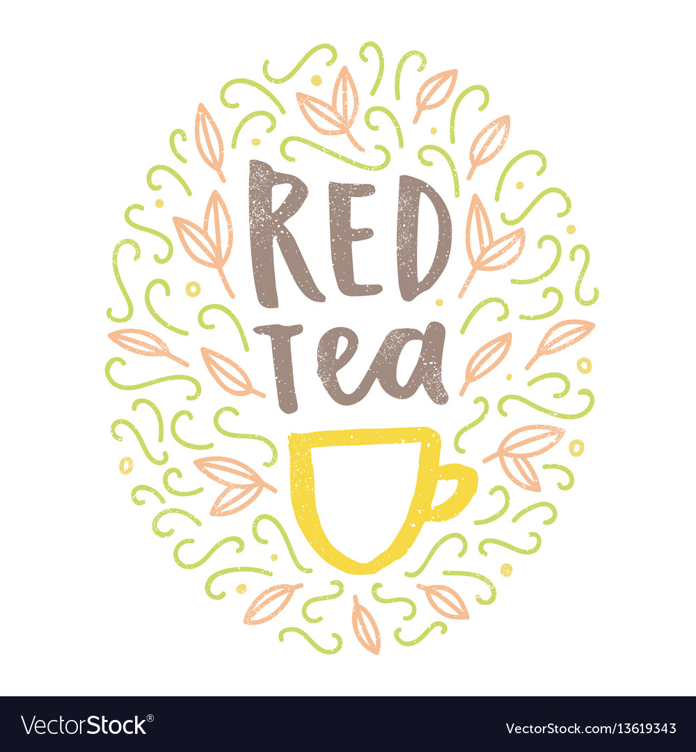 Red tea hand drawn doodles and lettering