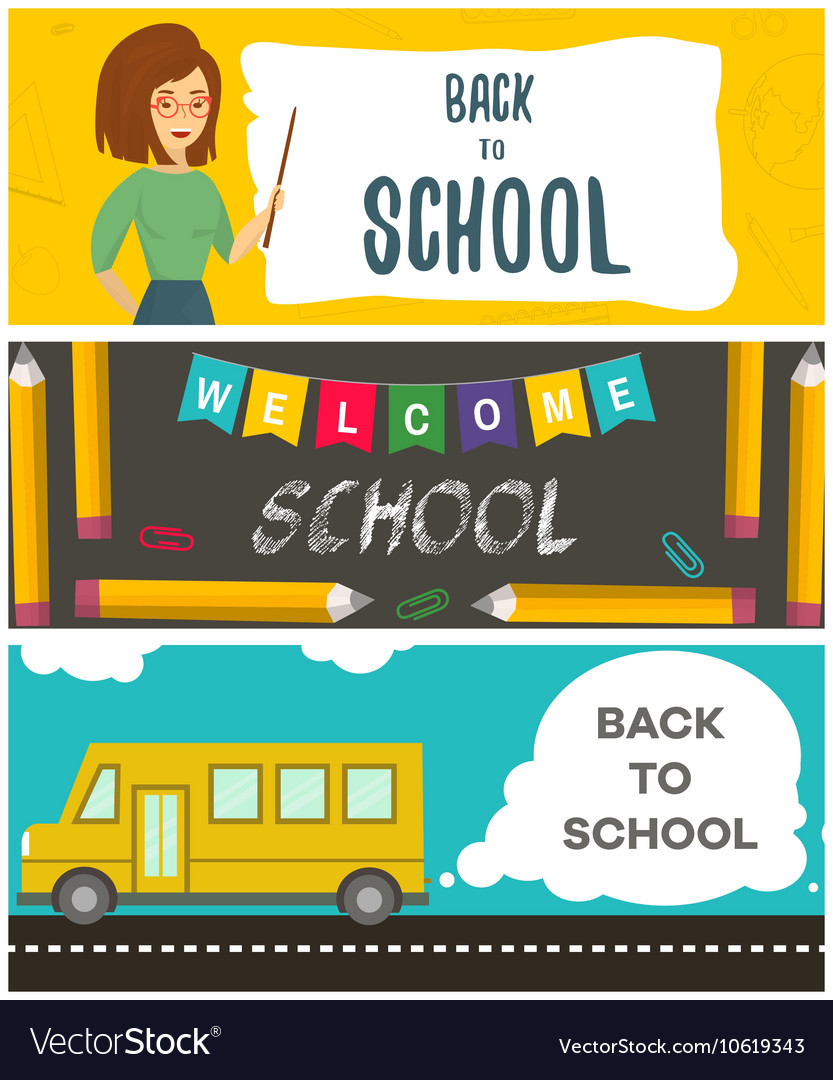 Set of back to school flyers Template for back to