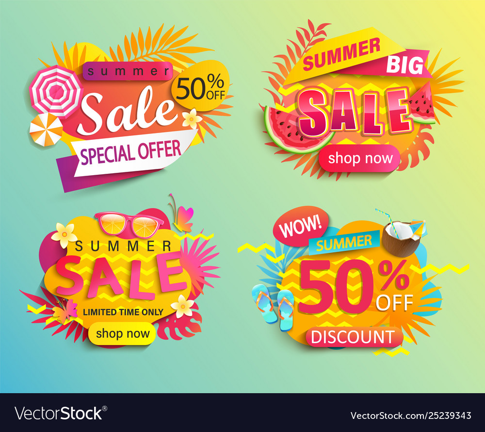 Set summer sale and discounts stickers
