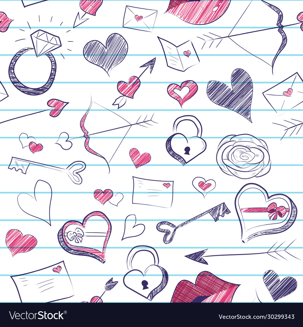 Valentines day seamless notebook doodle pattern
