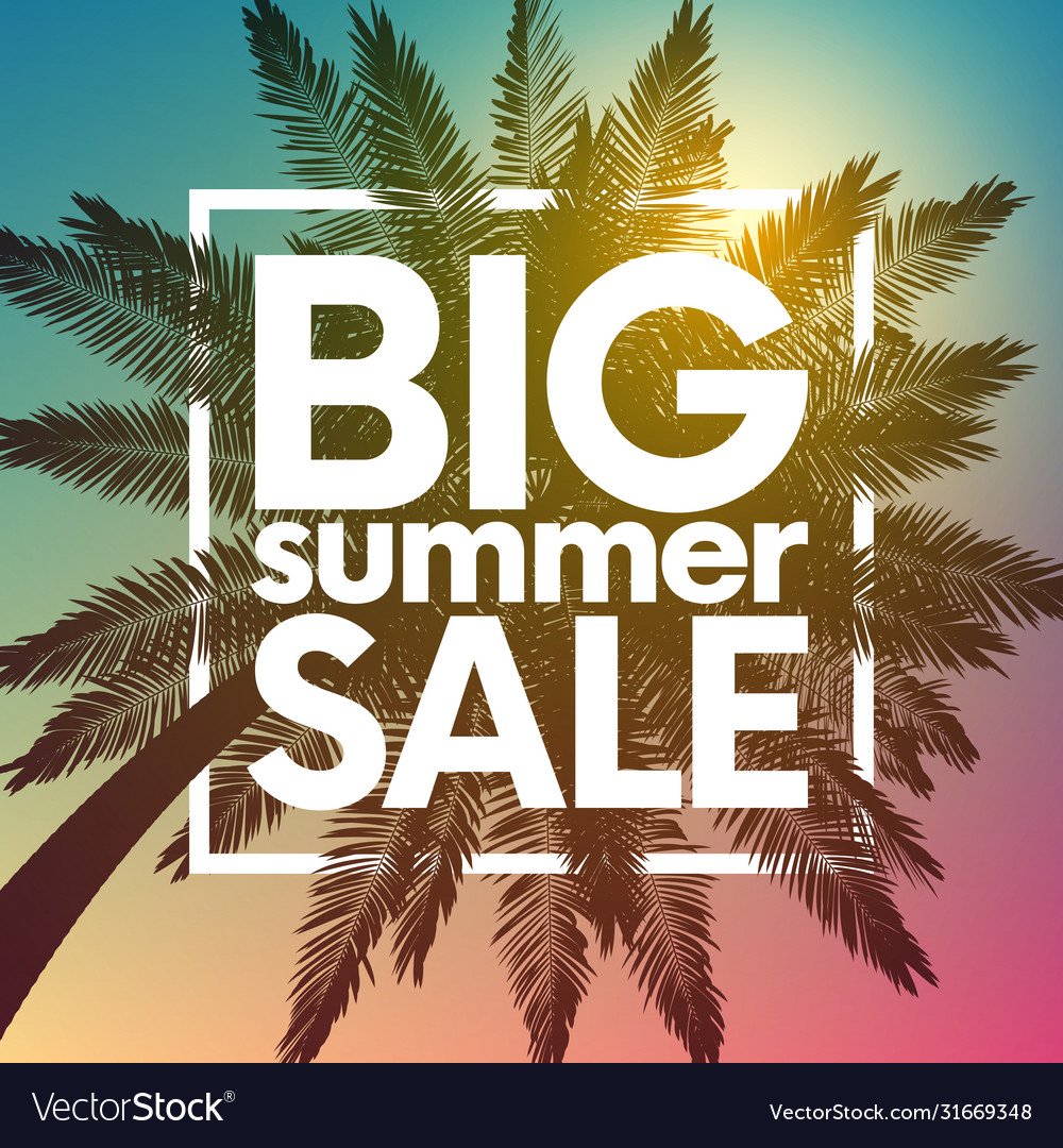 Big summer sale background with palm