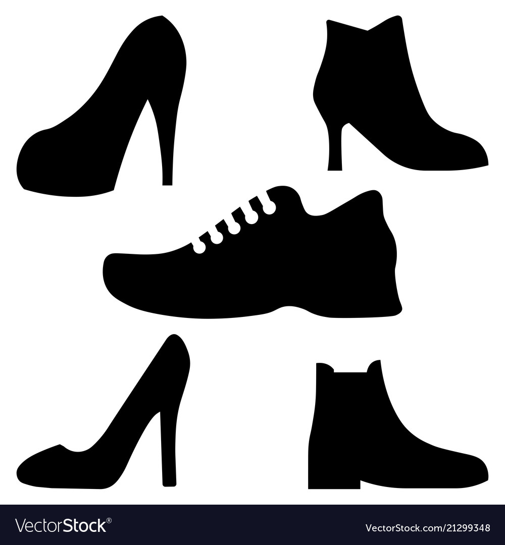 Black boots men and women icons set on whit