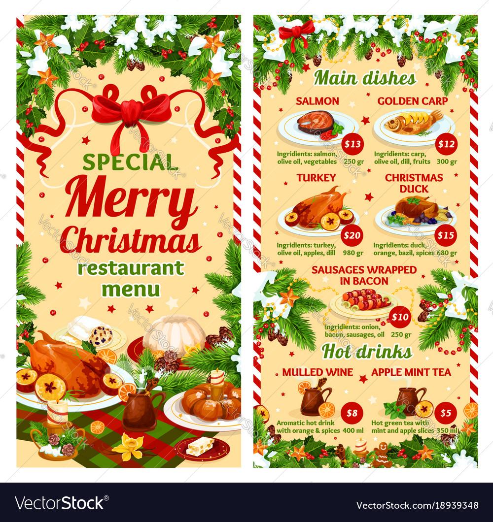 christmas dinner restaurant dish menu royalty free vector