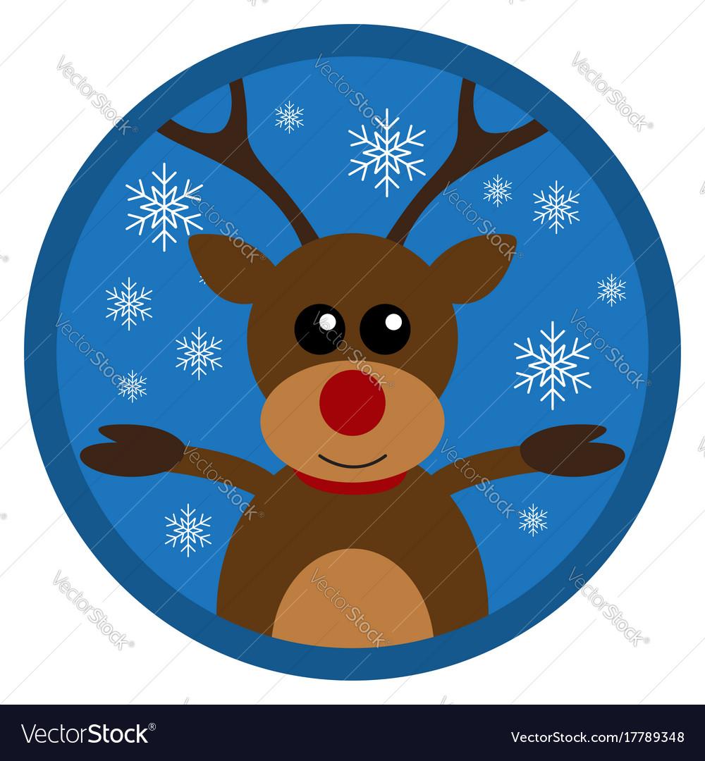Christmas funny deer flat design