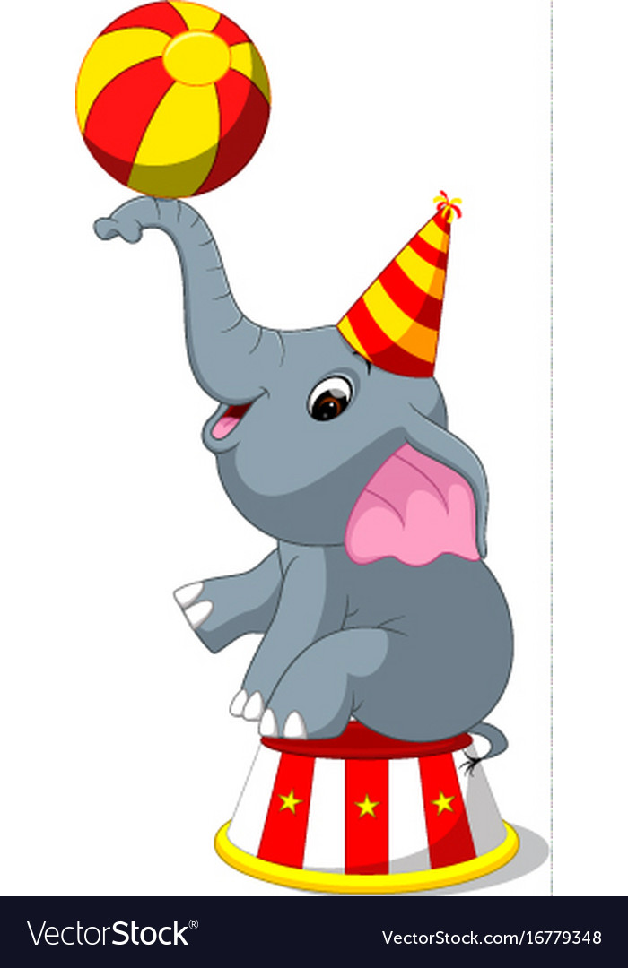 cute circus elephant with a striped ball vector image rh vectorstock com vintage circus elephant clipart circus elephant clip art free