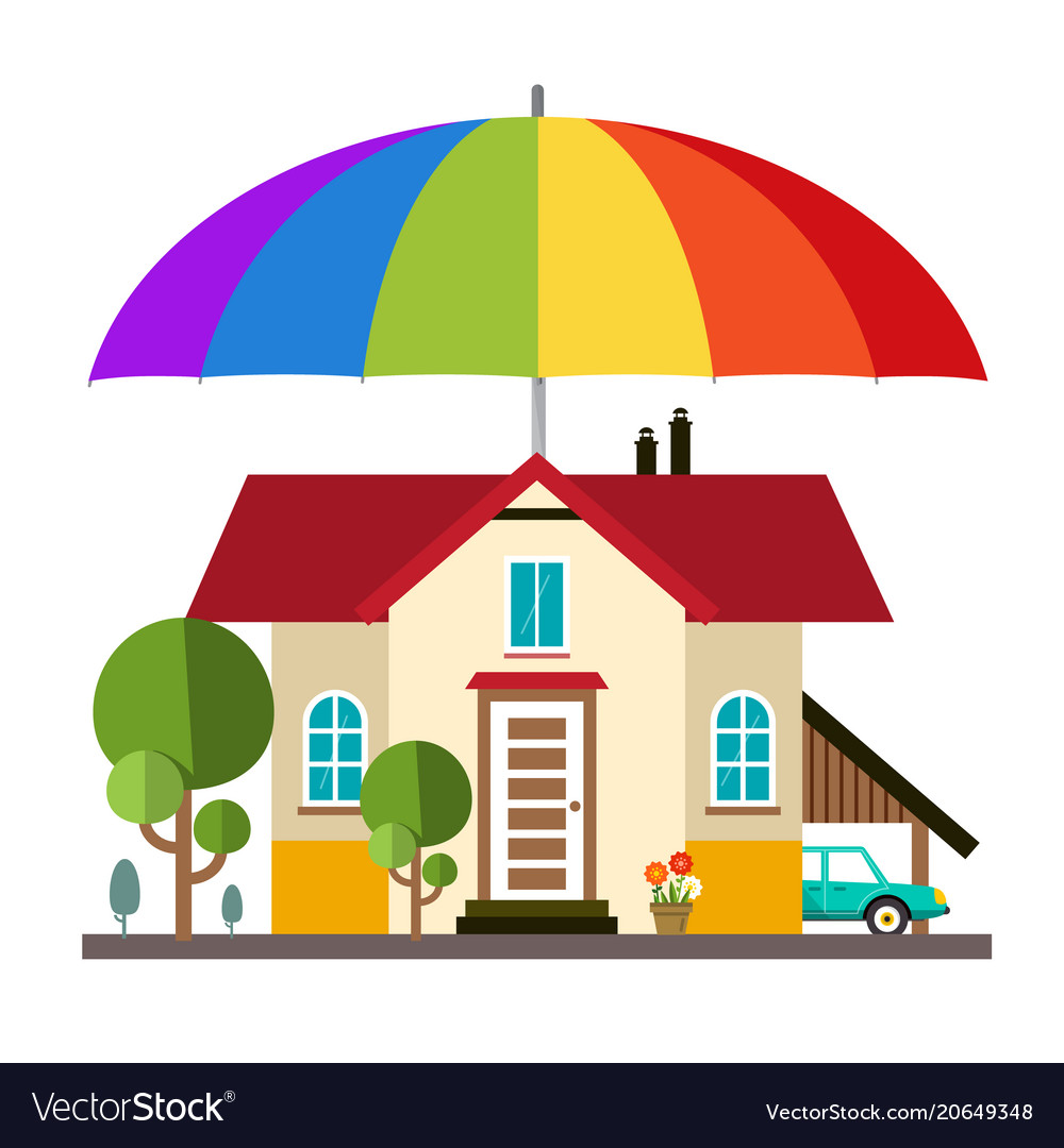 Family house with big colorful umbrella - parasol