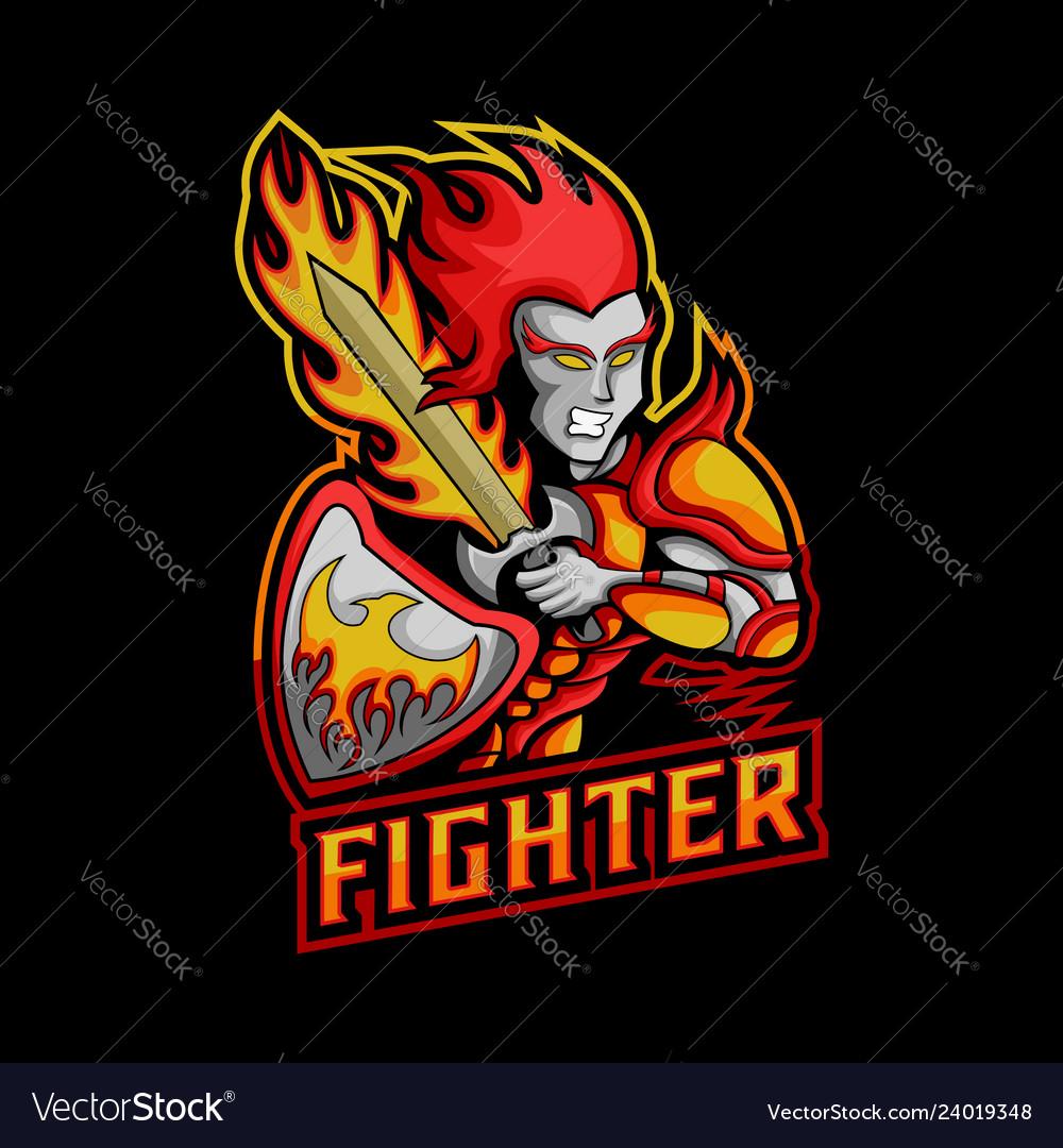 Fighter sword fire mascot