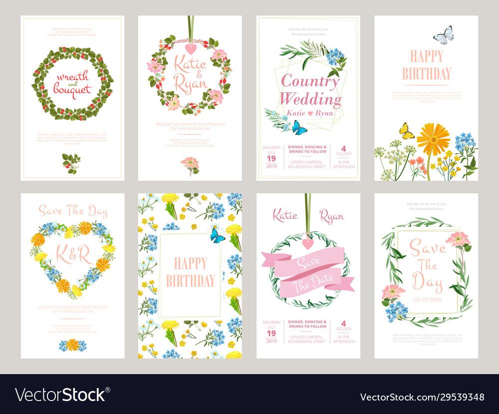 Floral cards botanical for placard