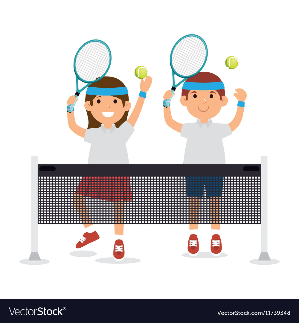 Girl and boy player tennis jump with rscket ball