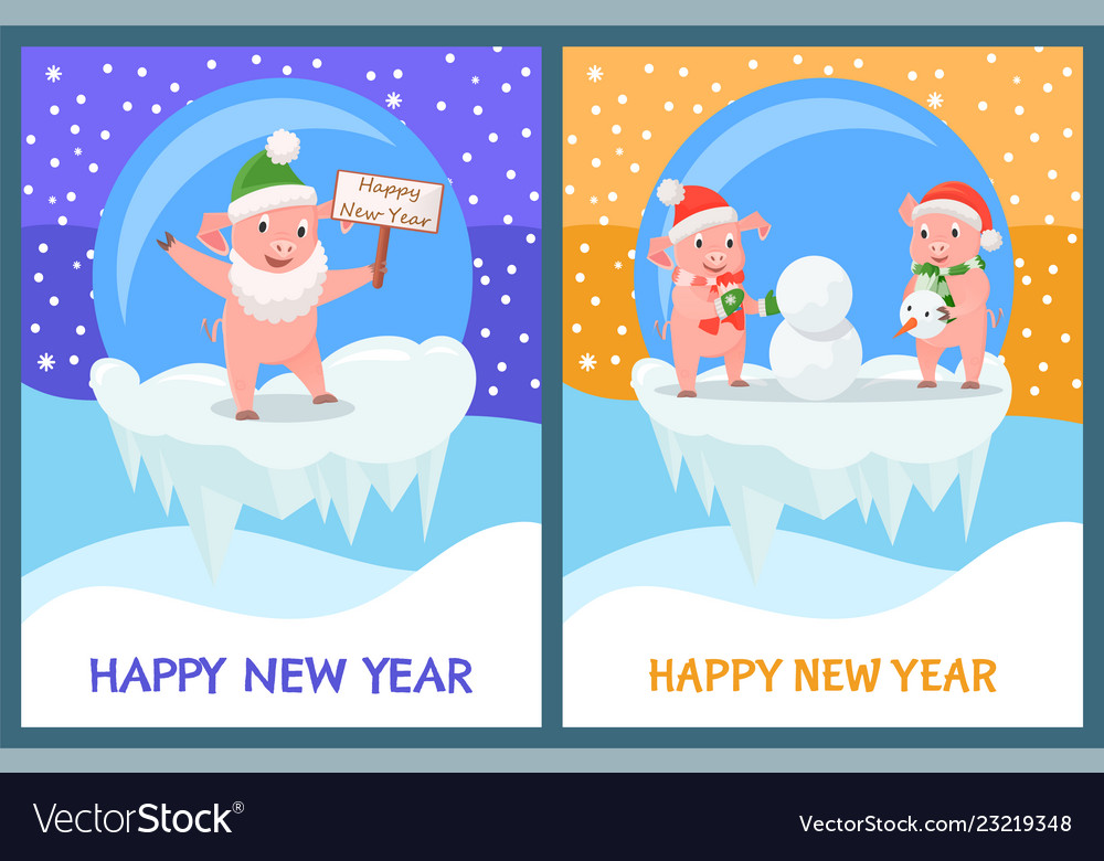 Happy new year piglets building snowman from snow