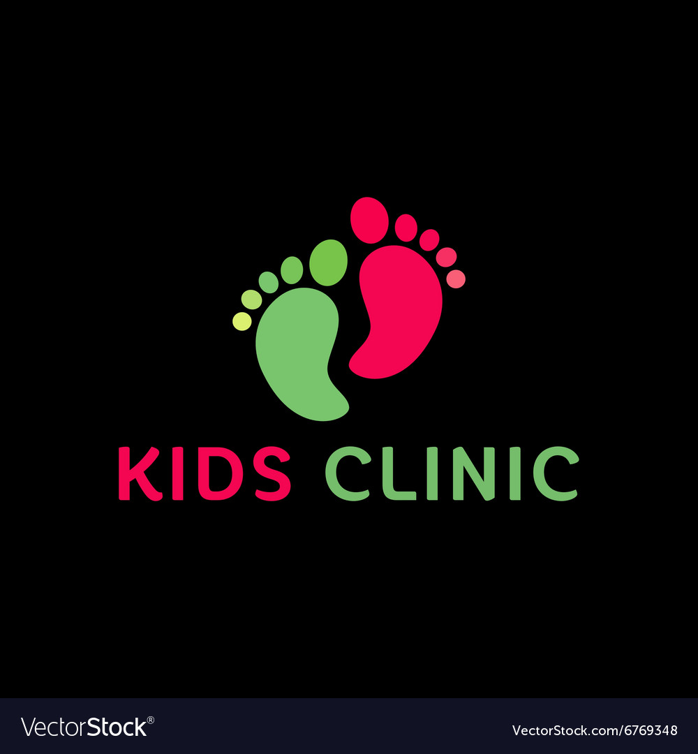 Logo Childrens health clinic the childs feet flat vector image