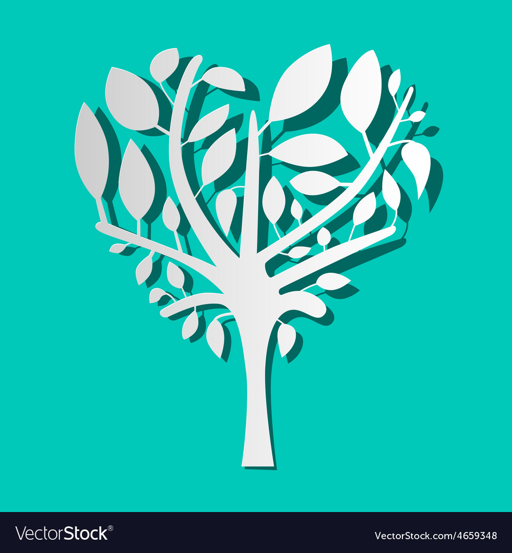 Paper Tree on Blue Background