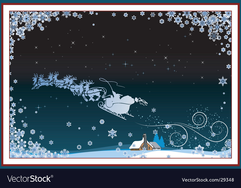Santa and sleigh vector image
