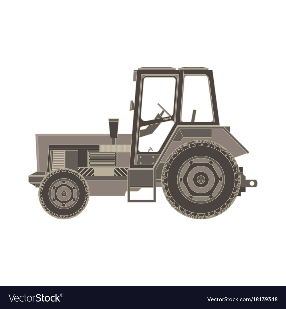 Tractor flat icon of a farmer vehicle in design