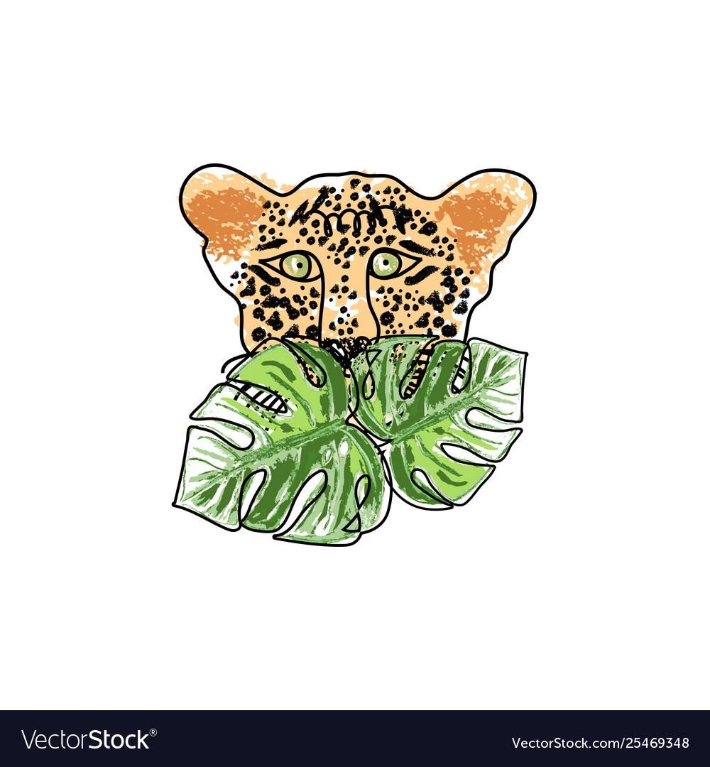 Wild feline tropical hand drawn leopard character