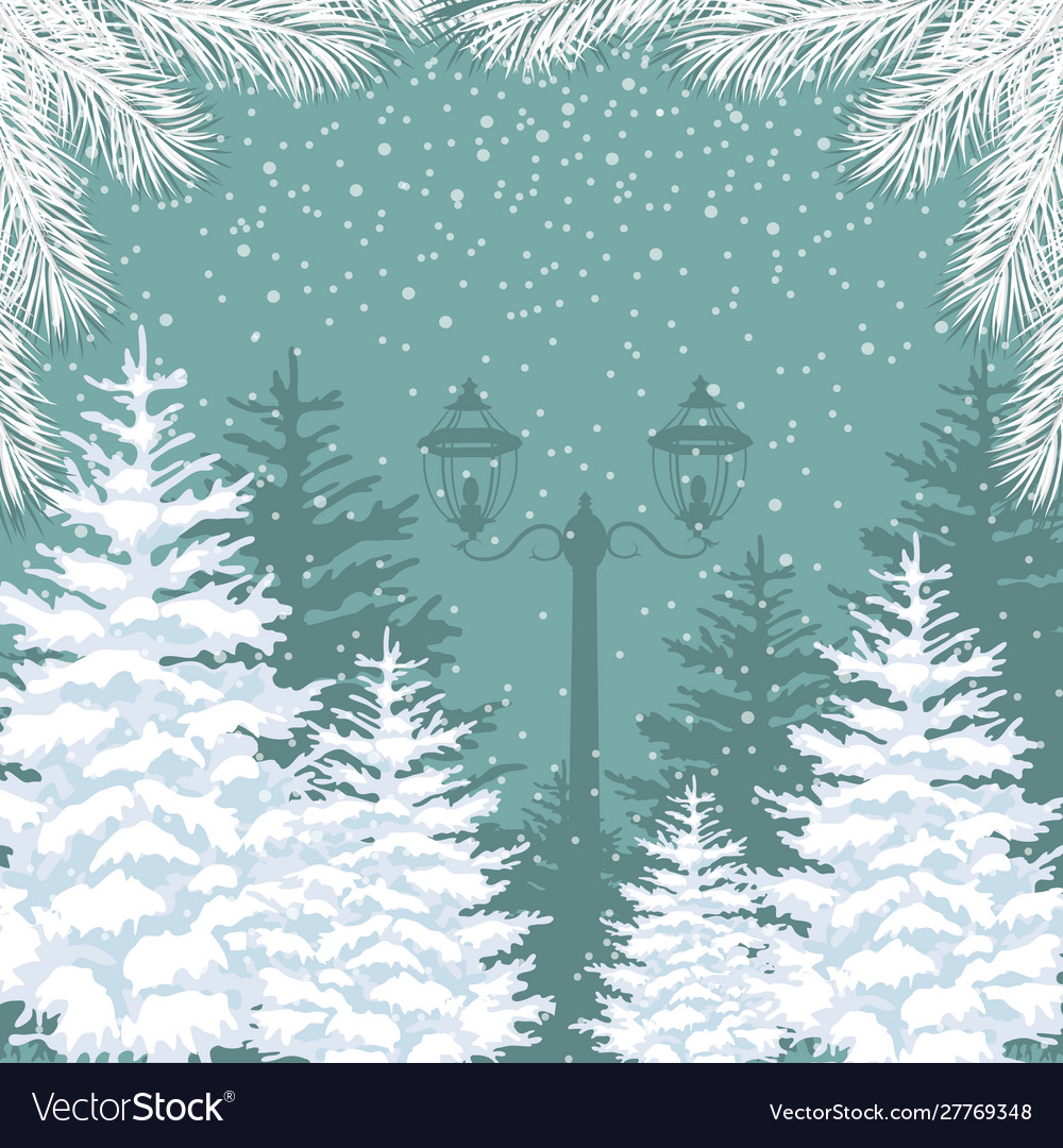 Winter background snowfall fir trees and