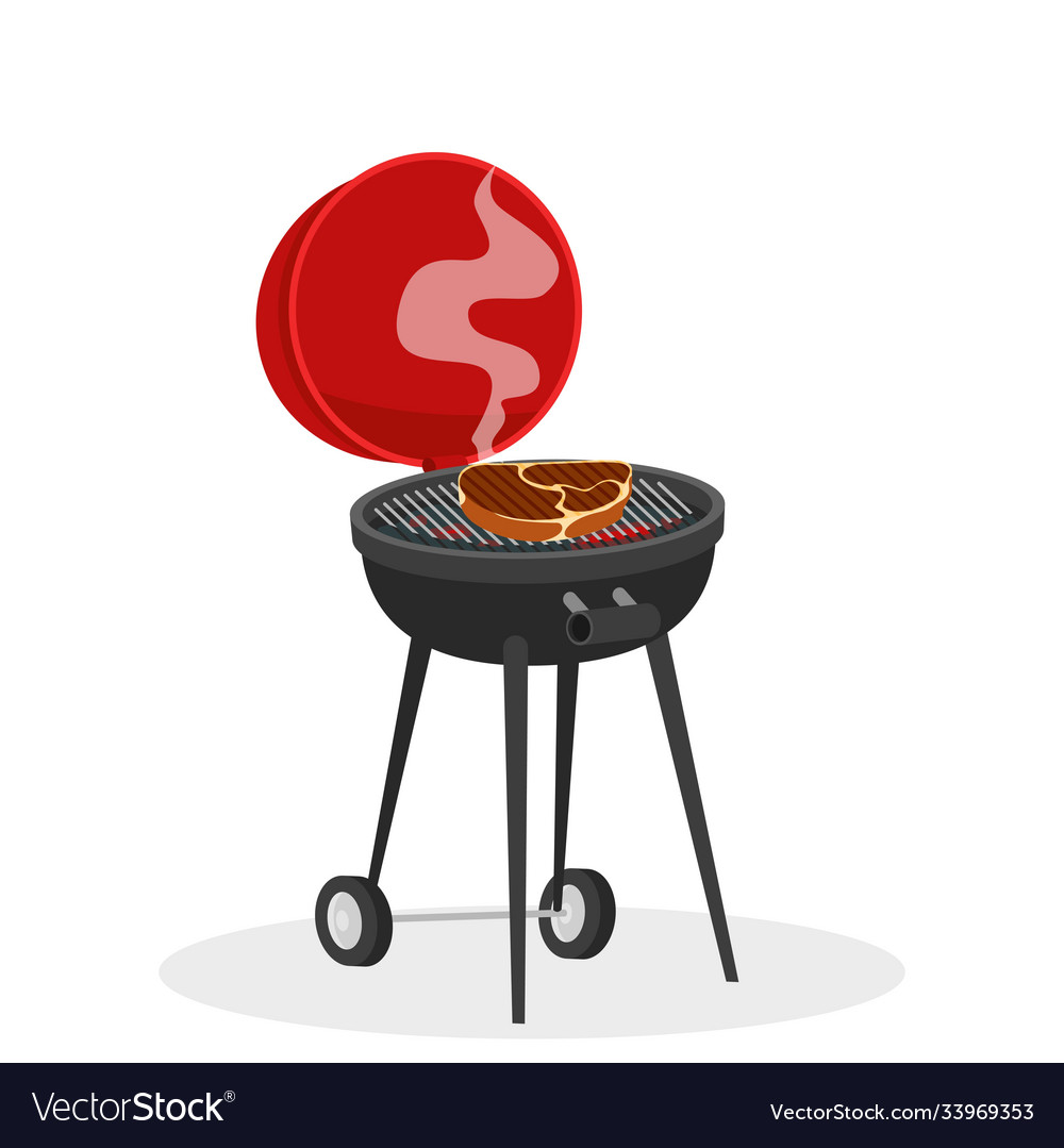 Cartoon barbecue grill with hot coals juicy ready