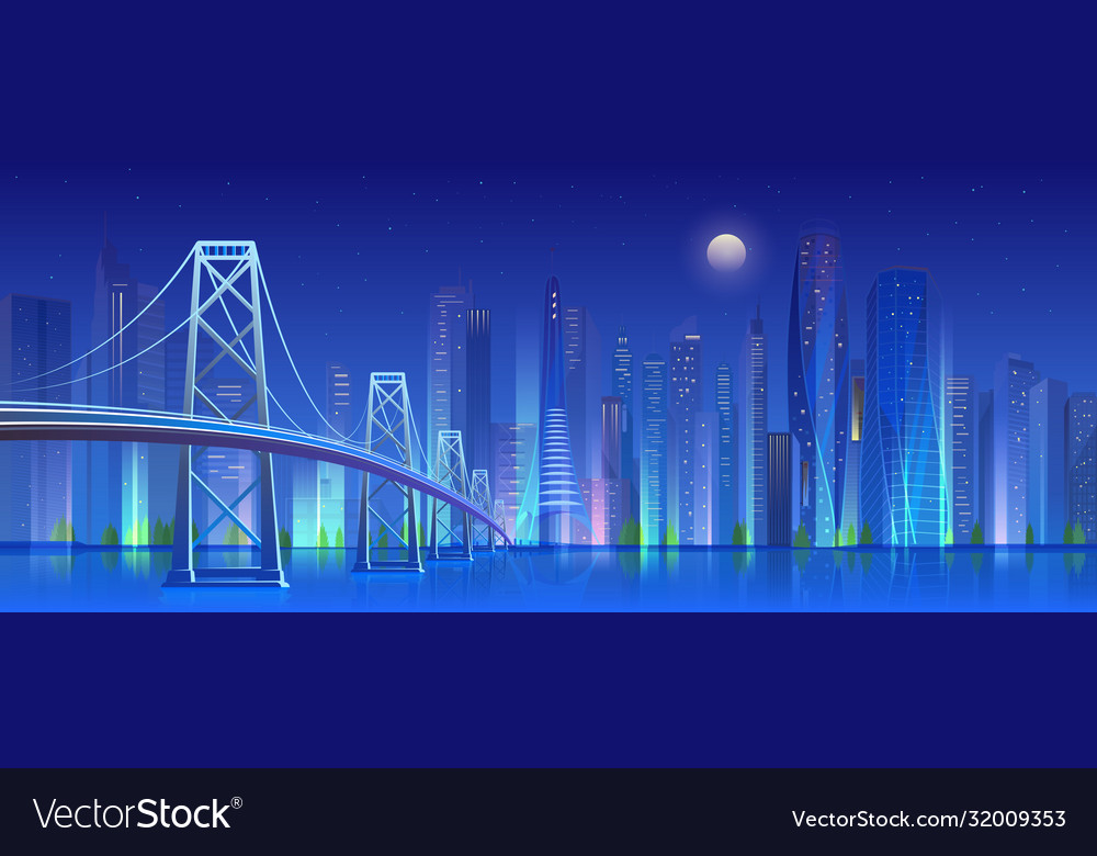 City bridge at night cartoon