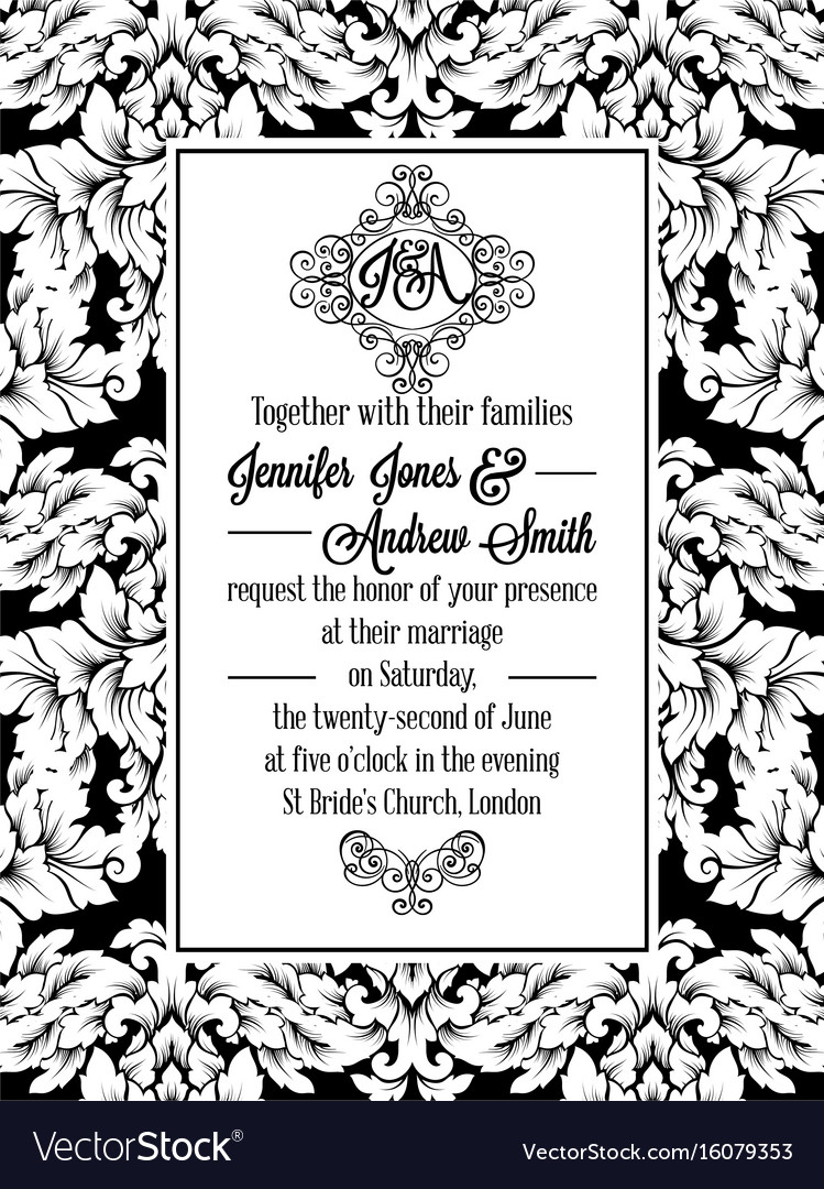 Damask victorian brocade pattern invitation