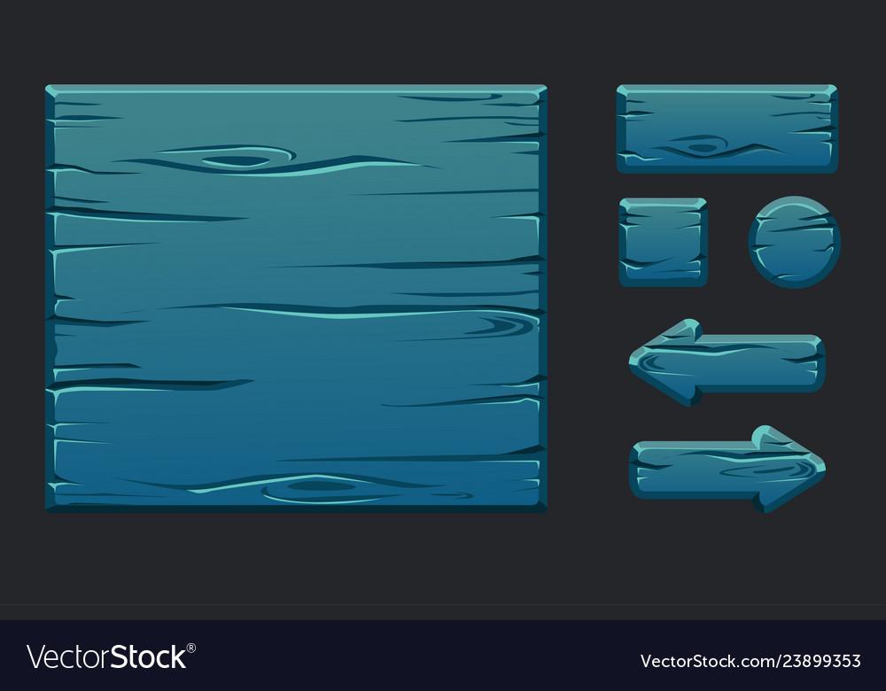Game ui kit template blue wooden menu of