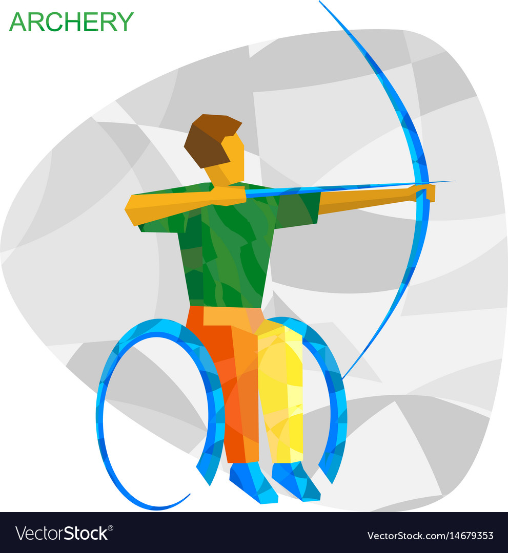 Physically disabled archer with abstract patterns