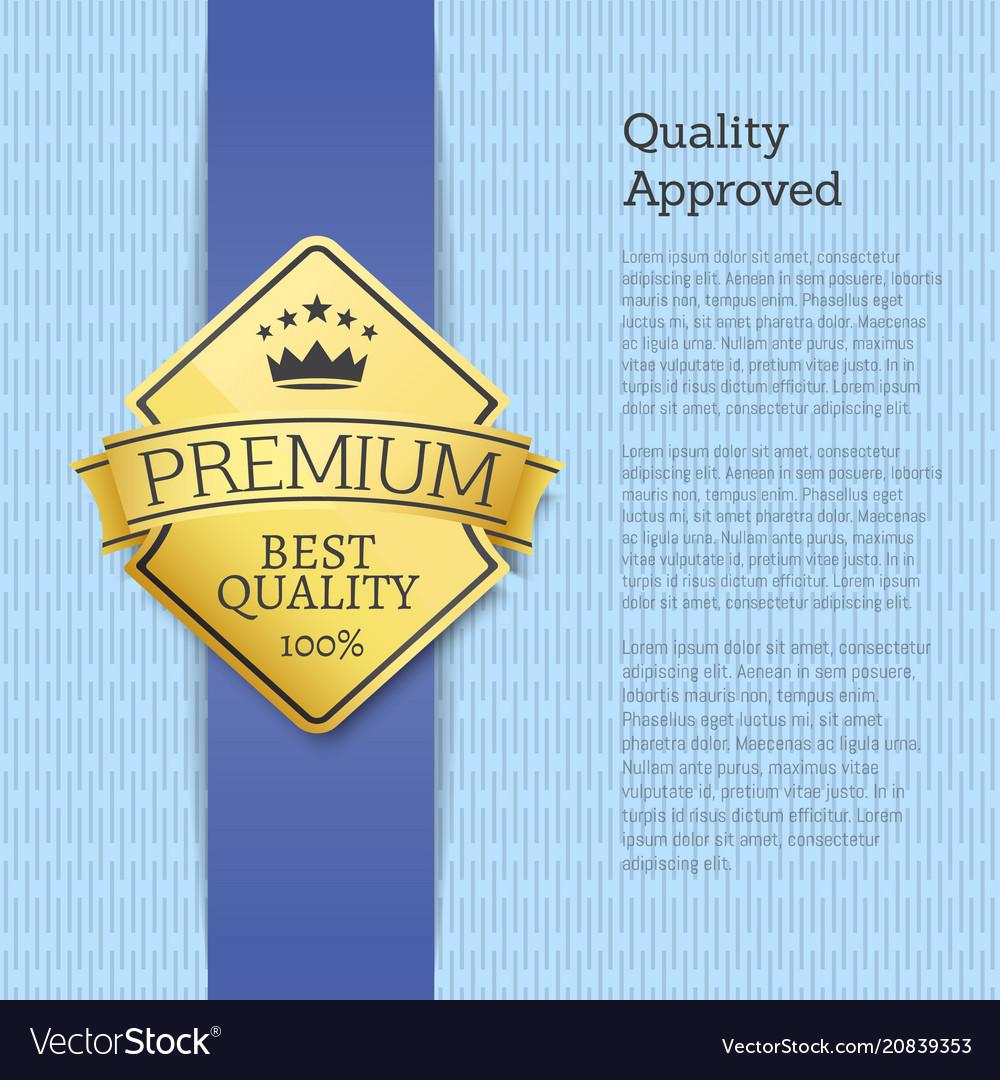 Quality approved premium gold label emblem sticker