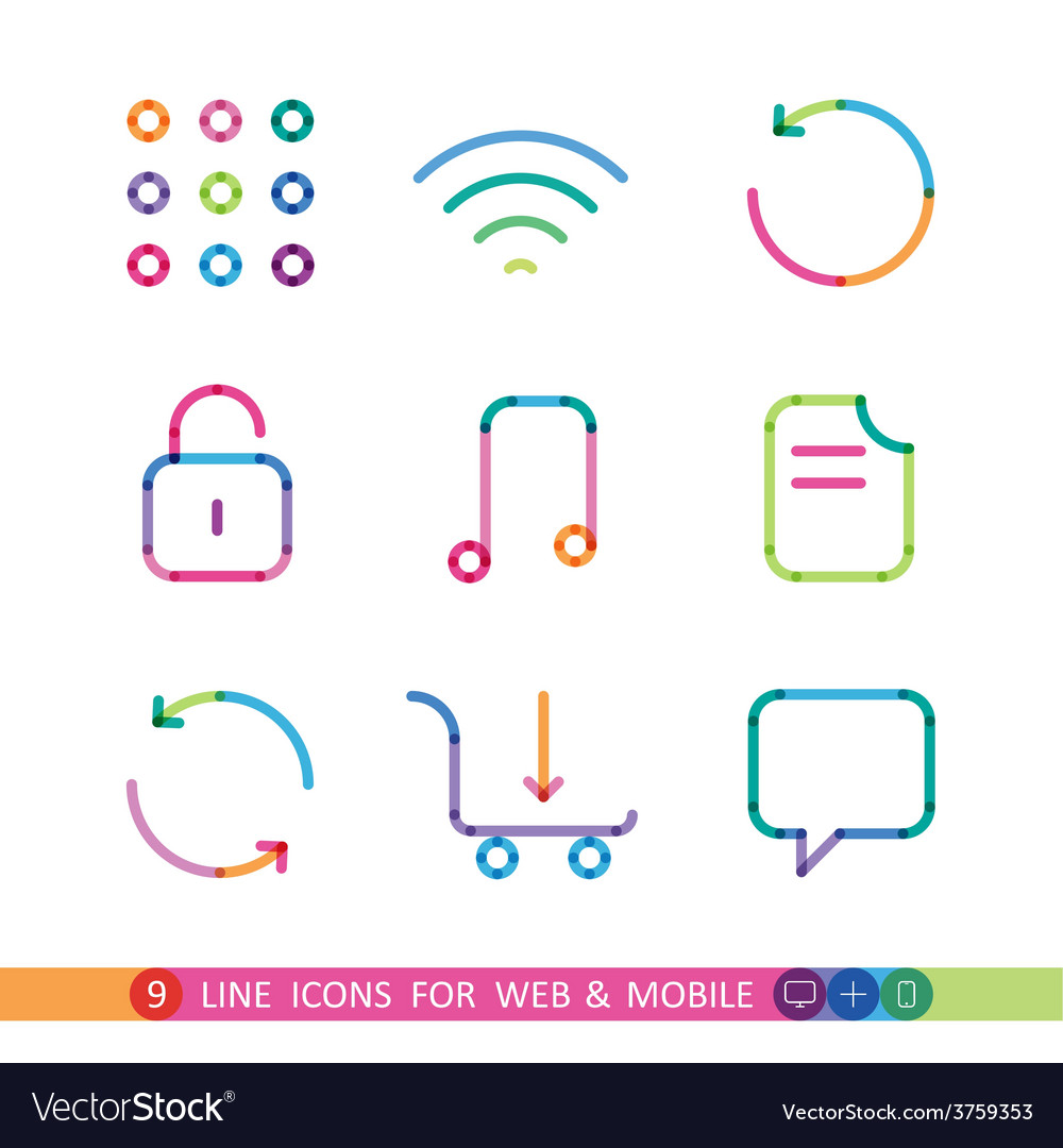 Set from 9 color icons for web and mobile