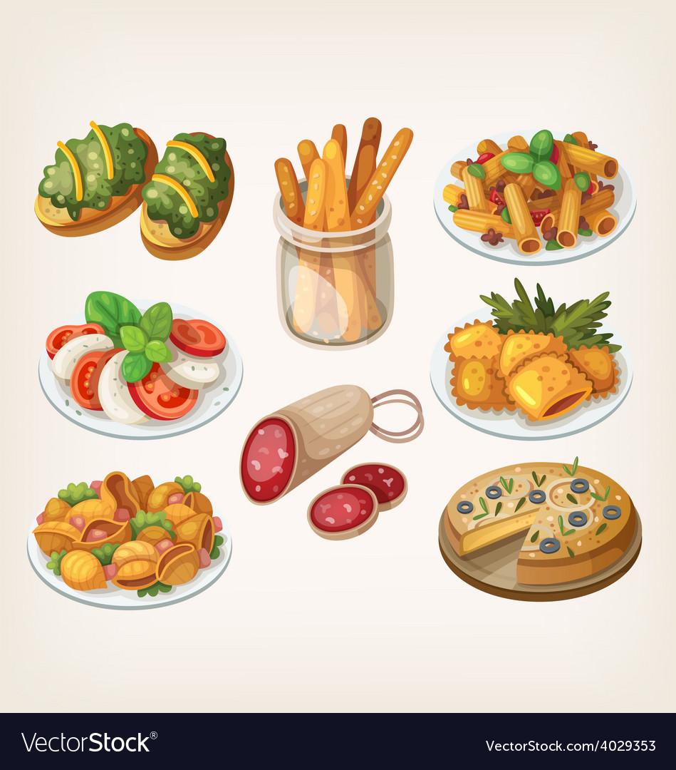 Set of italian food