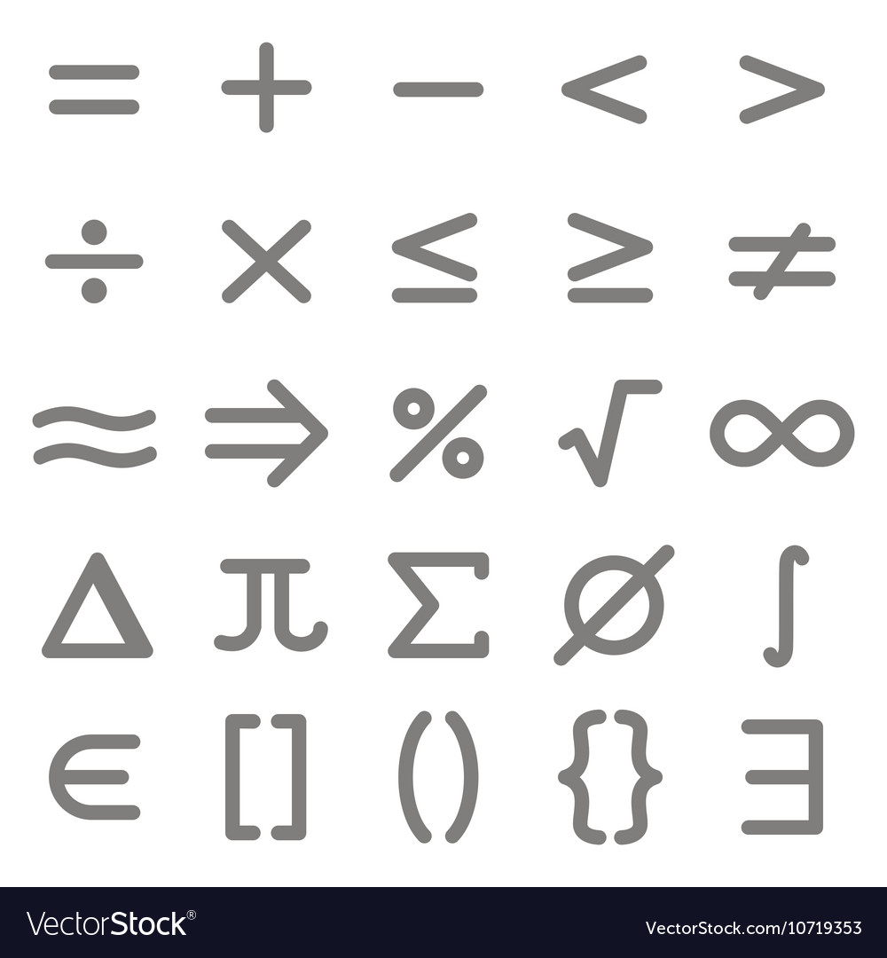 Set Of Monochrome Icons With Mathematical Symbols Vector Image